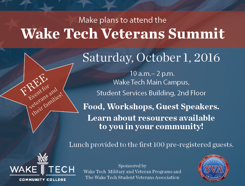 wake tech veterans summit tickets  sat  oct 1  2016 at 10