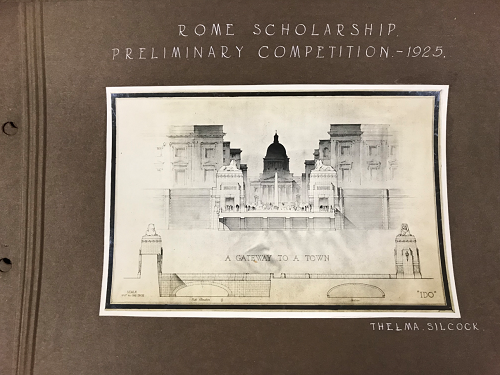 Photo of the drawing is from UoL archive - Preliminary and final drawings for the Rome Scholarship 1920s. Drawing by Thelma Silcock.