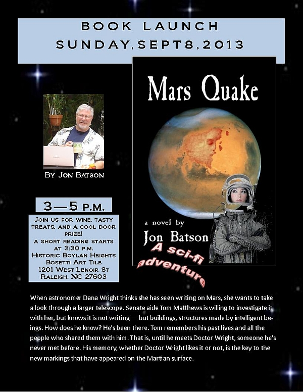 Mars Quake book launch flier