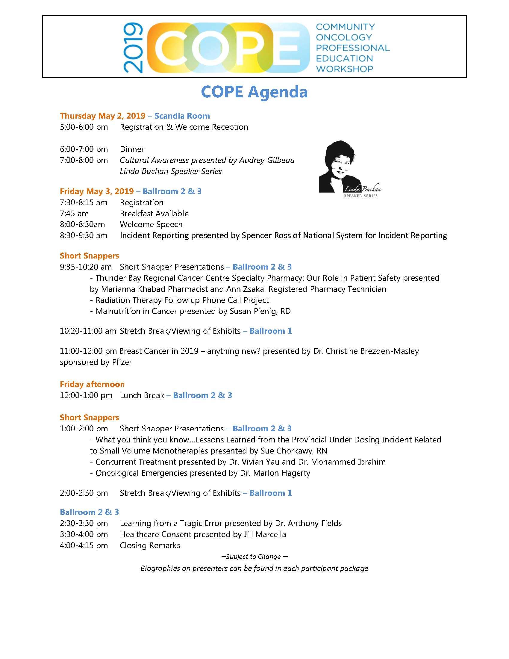 COPE 2019 Agenda