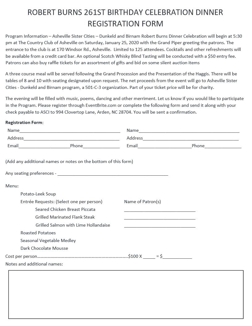 Robert Burn 261 Registration information