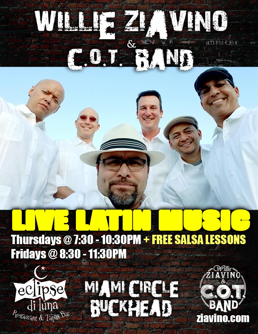 Live Latin Band & Free Salsa Lessons on Thursday Nights in Atlanta  at Eclipse Di Luna - Miami Circle