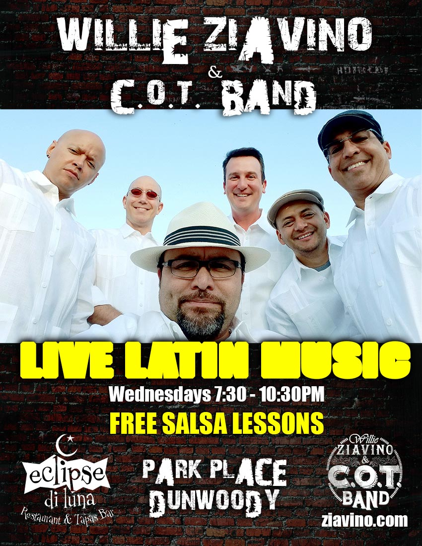 Live Latin Band & Free Salsa Lessons on Wednesday Nights in Dunwoody at Eclipse Di Luna - Park Place