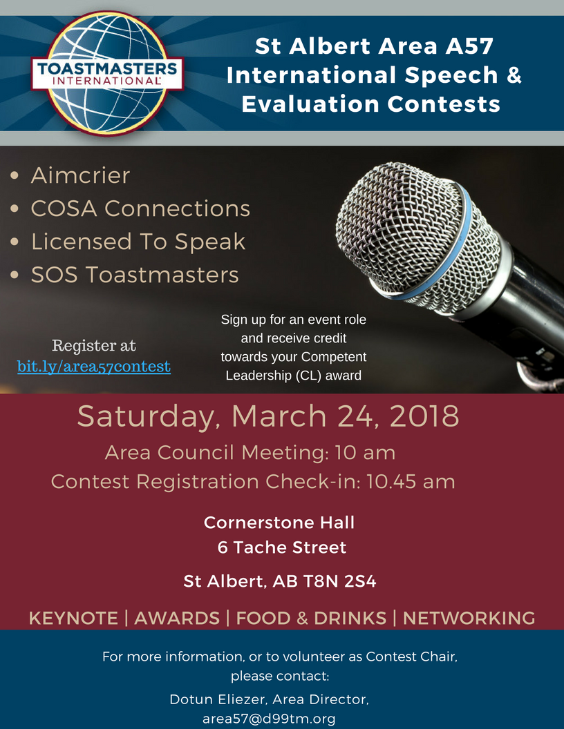 D99 Toastmasters Area 57 Spring Contest