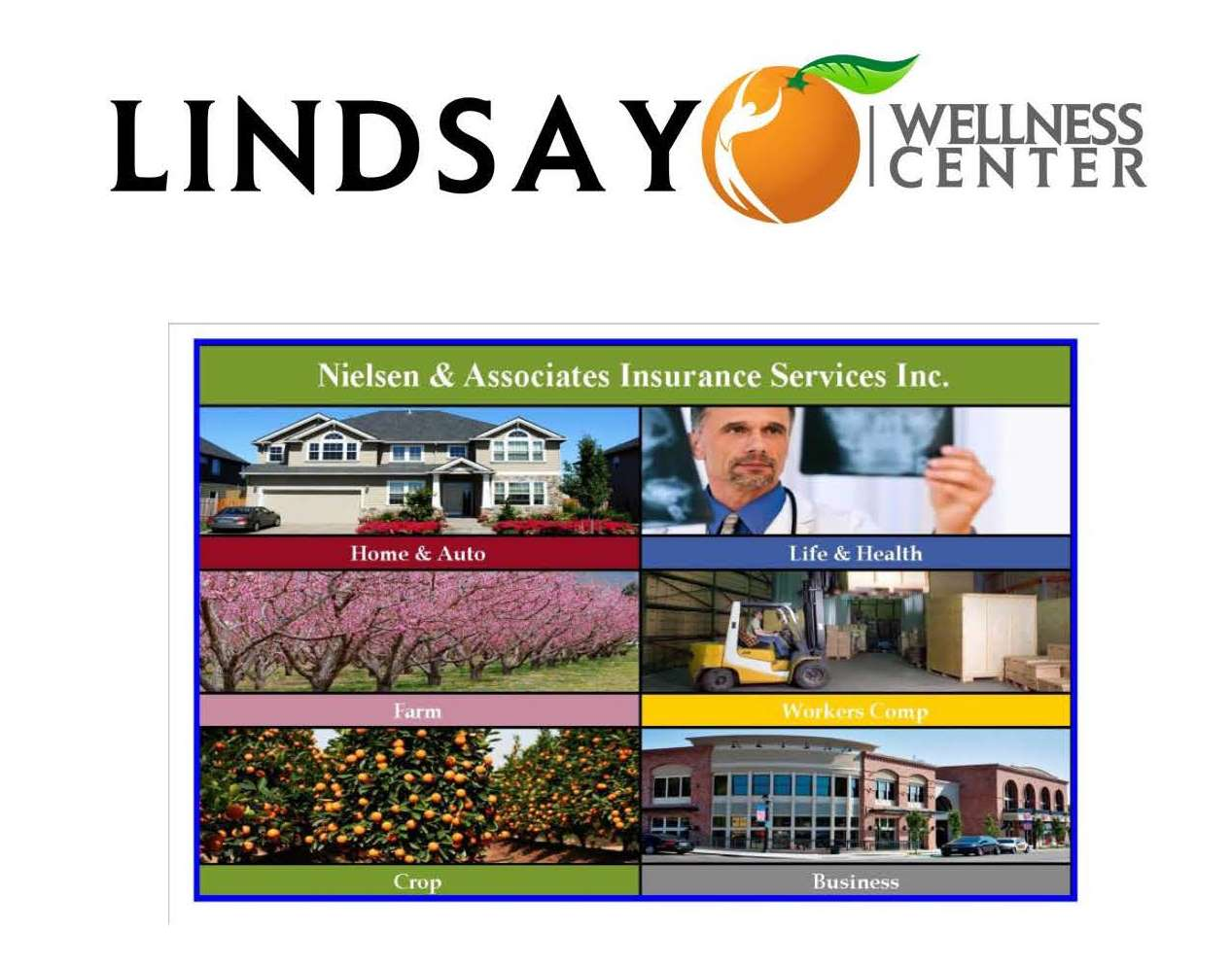 Sponsors: Nielsen & Assoc. Insurance and Lindsay Wellness Center
