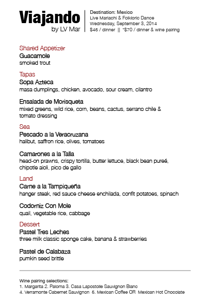 Viajando by LV Mar menu