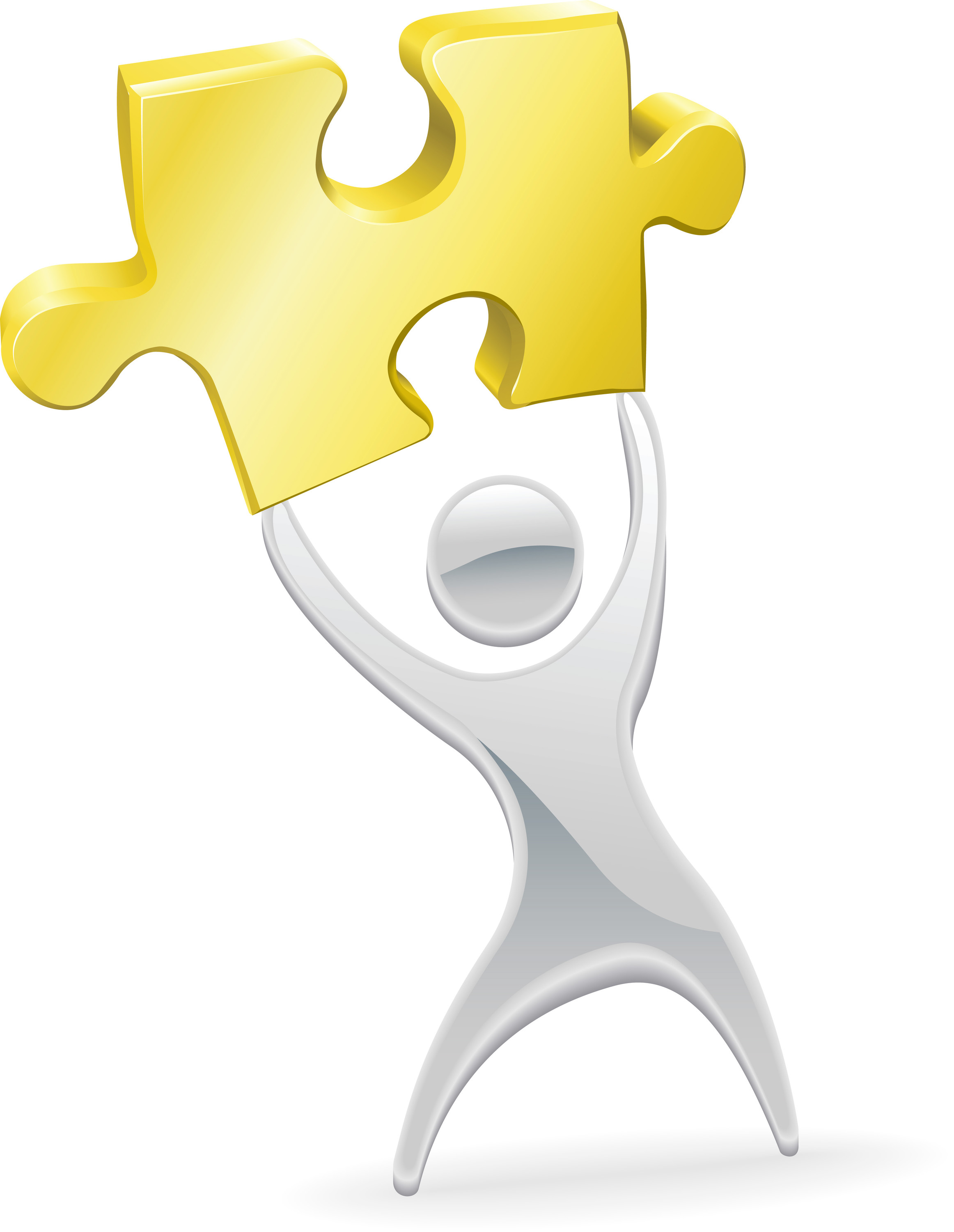 Clip art of person holding puzzle piece