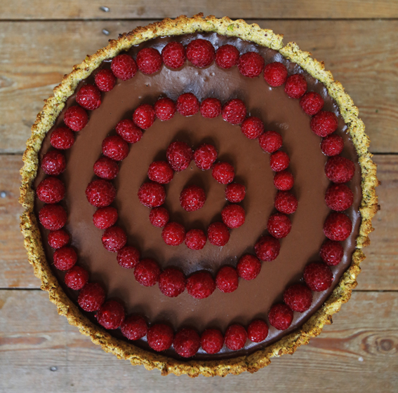 Chocolate Raspberry tart - Vegan dining from v-curious supper club