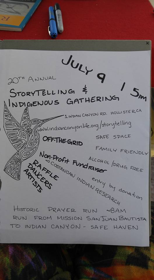 Indian Canyon Storytelling Gathering Flier - July 9th 2016 - Hand drawn by Kanyon Sayers-Roods