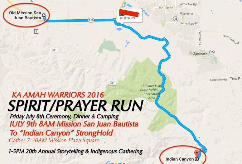 Prayer Run Map of Mission San Juan Bautista Route to Indian Canyon