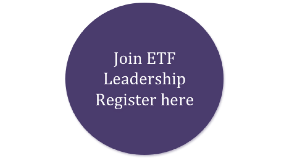 Image of a hyperlinked click-button to join the Leadership Register. The button takes you to the ETF website