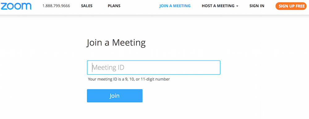 Screenshot of the screen you reach after selecting the link to join the meeting. This screen asks you for the meeting ID, which we'll send you once you've registered your place.