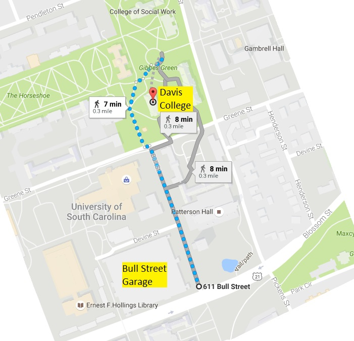 map showing Bull St garage at 611 Bull St., and pedestrian pathway from garage to Davis College