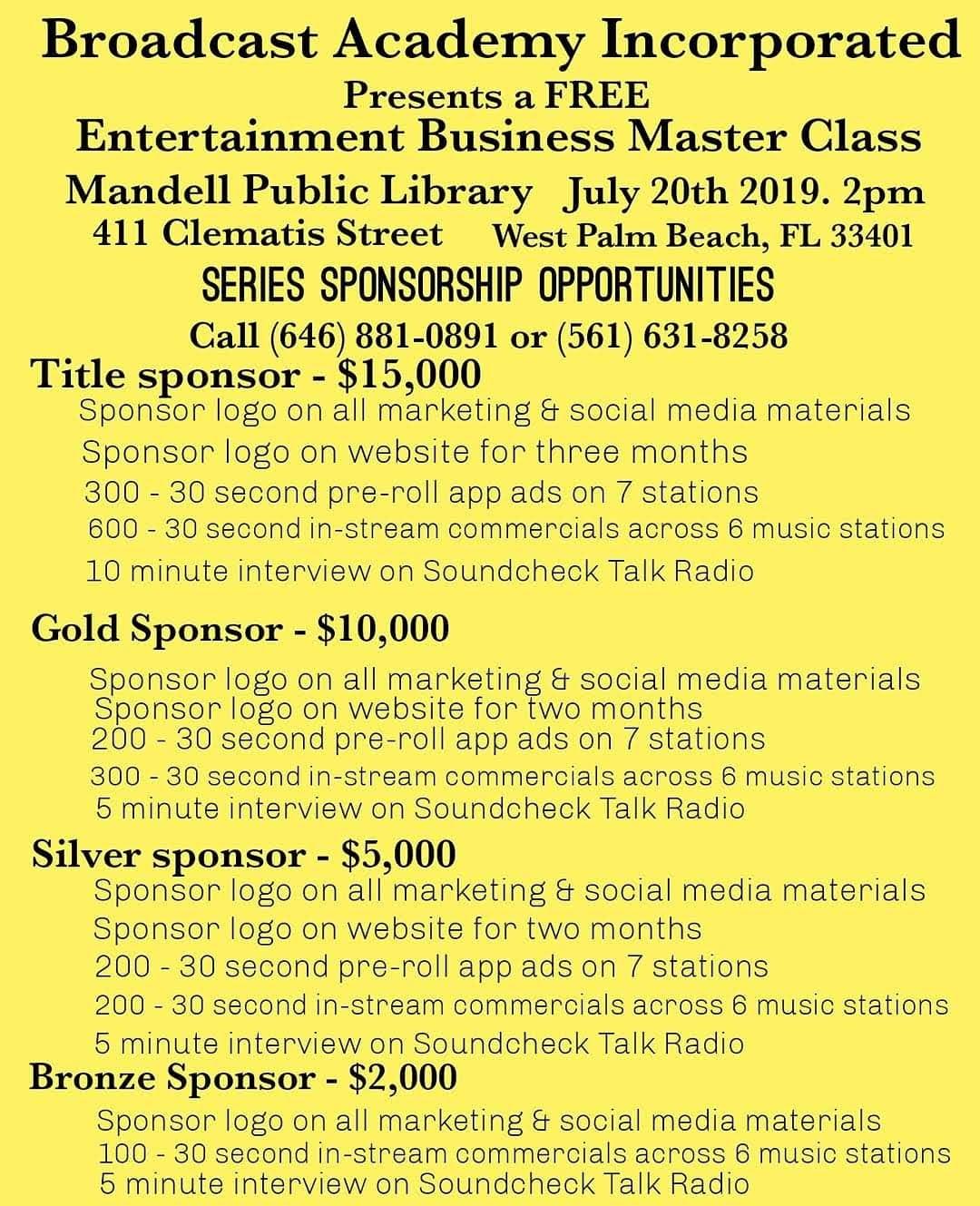 Entertainment Business Master Class Series Sponsorships