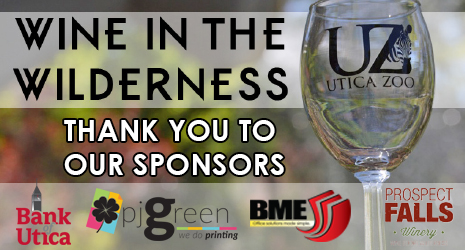 Thank you to Wine in the Wilderness Sponsors Bank of Utica, PJ Green, BME, and Prospect Falls Winery