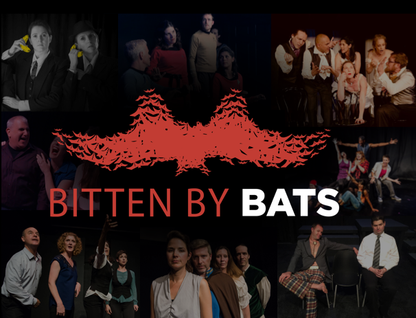 Collage of photos of Bitten by BATS participant groups overlaid with Bitten by BATS logo