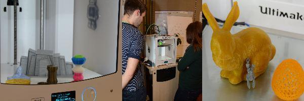 Ostern, 3D Drucker und gedrucktes, Leute schauen beim drucken zu