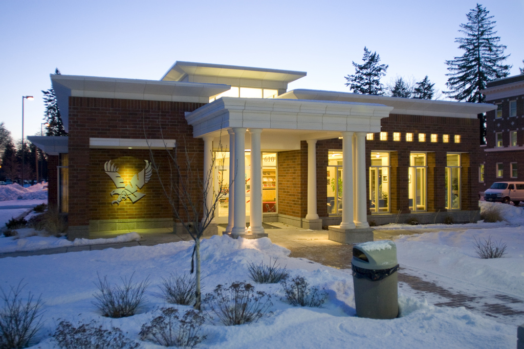The EWU Visitor Center in winter, covered with snow