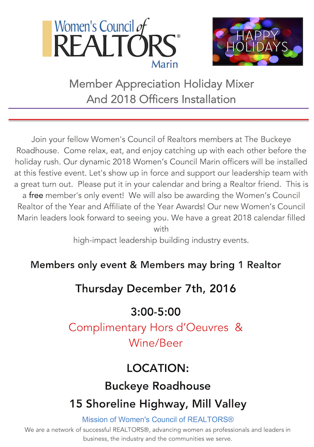 holiday party invite women's council marin