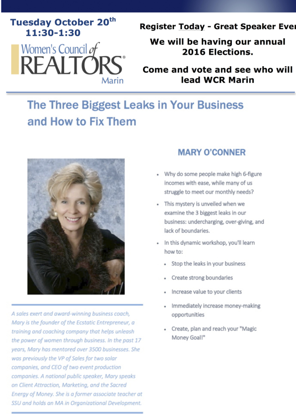 This program is for Members of WCR Marin and REALTOR Guests only. If you are a REALTOR and interested in joining WCR Marin, please contact ou