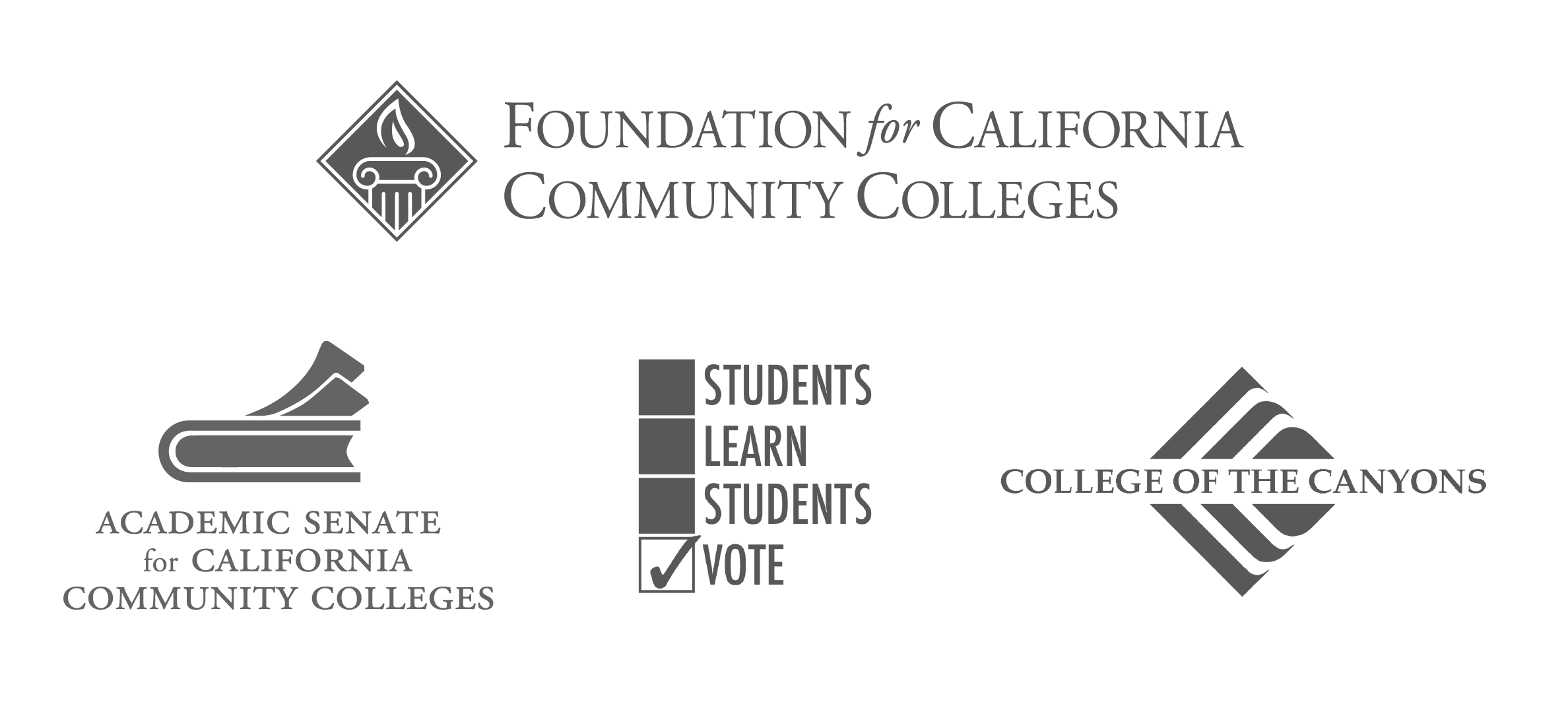 Logos of the Foundation for California Community Colleges, the Academic Senate for California Community Colleges, Students Learn Students Vote, and the College of the Canyons