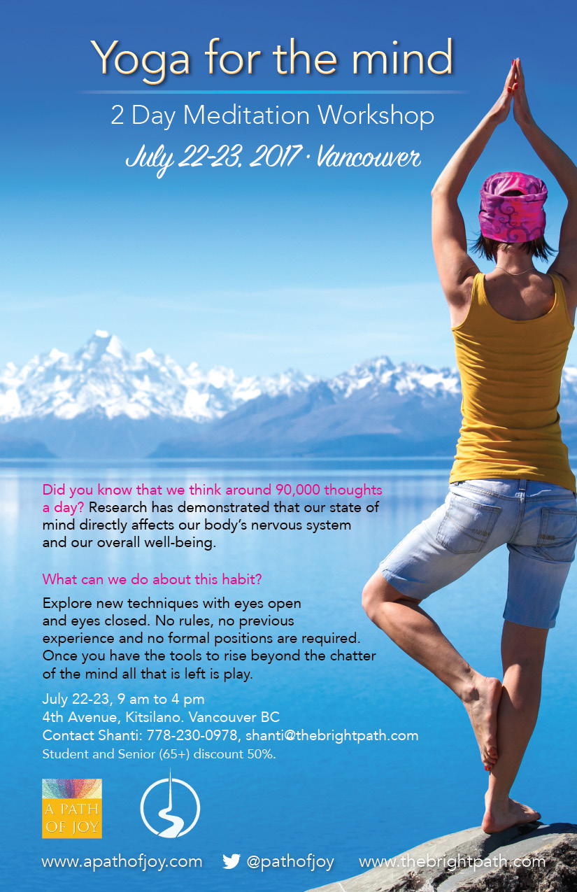 Woman looking to the mountains doing yoga pose, flyer