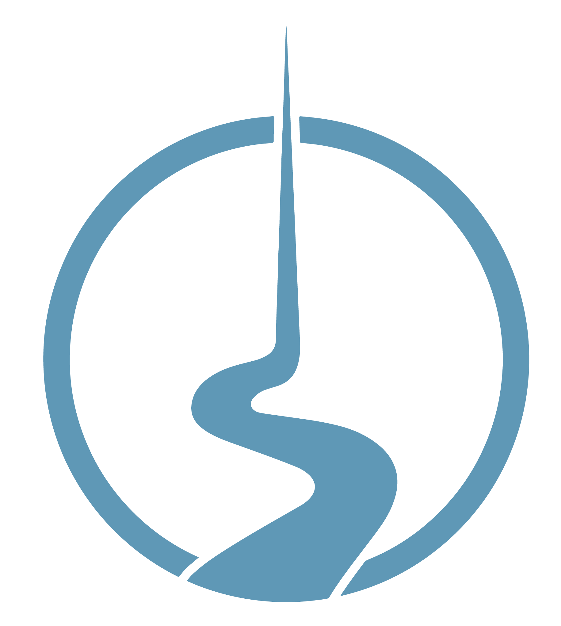 The Bright Path logo, blue circle with path in the middle going upwards