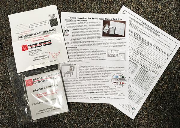 Photo of a Short Term Radon Test Kit