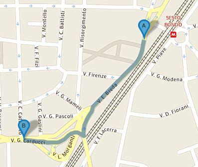 Itinerario a piedi da stazione metro