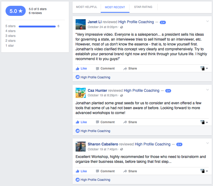 5 Star Reviews from Facebook.com/HiProCoach