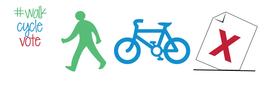 WalkCycleVote logo of pedestrian, bike and election symbol