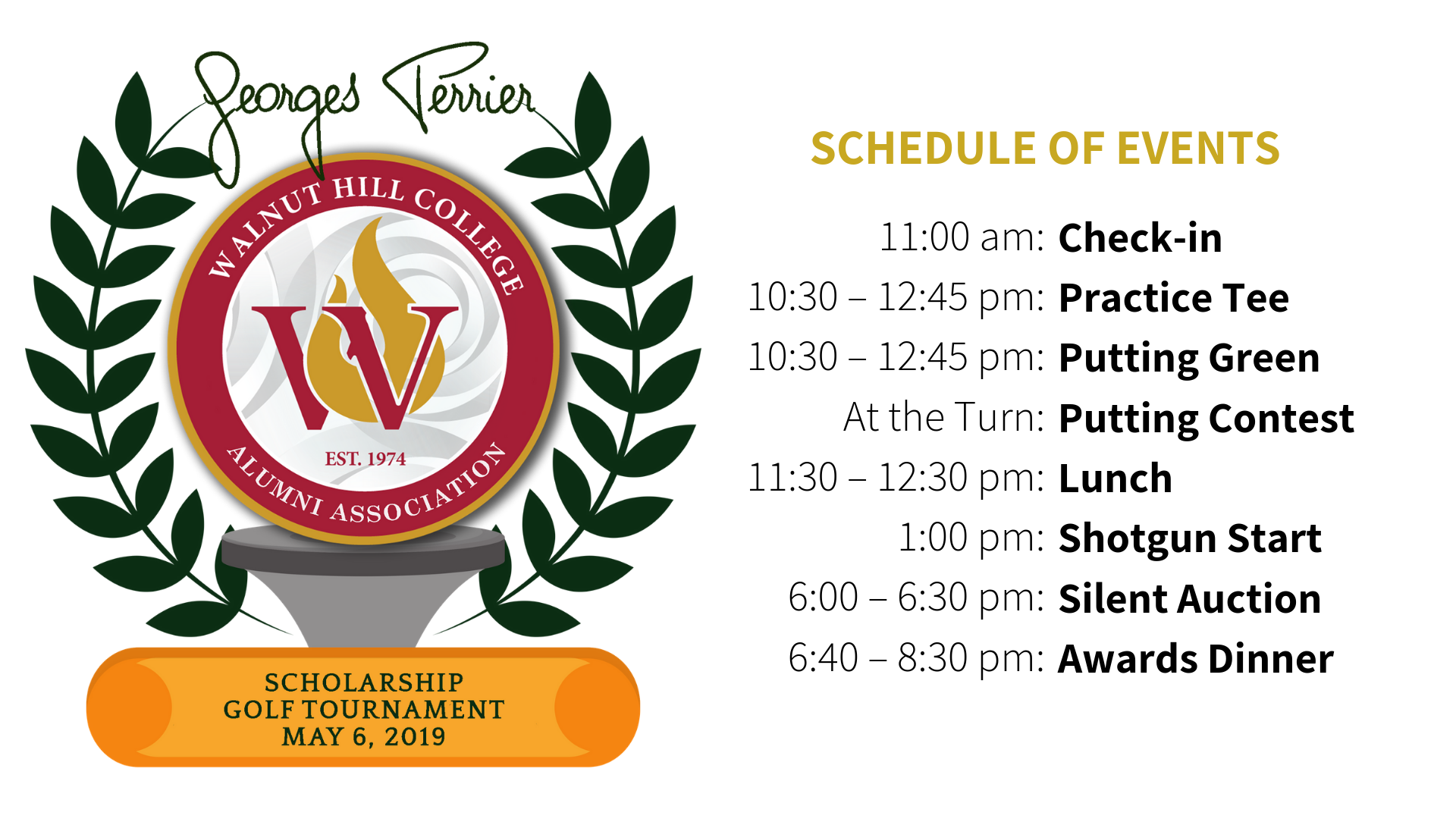 Georges Perrier Scholarship Tournament Itinerary