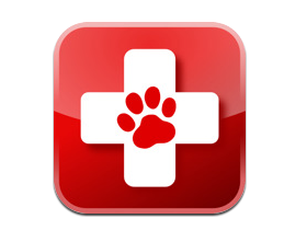 Red Cross with Paw Print