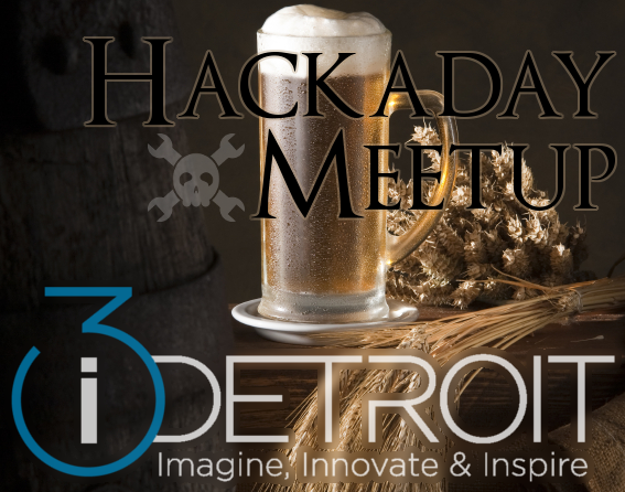 Hackaday and i3 Detroit logos in front of a glass of beer