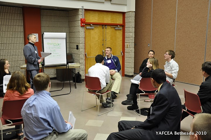 Cadets coach students through a method of decision making