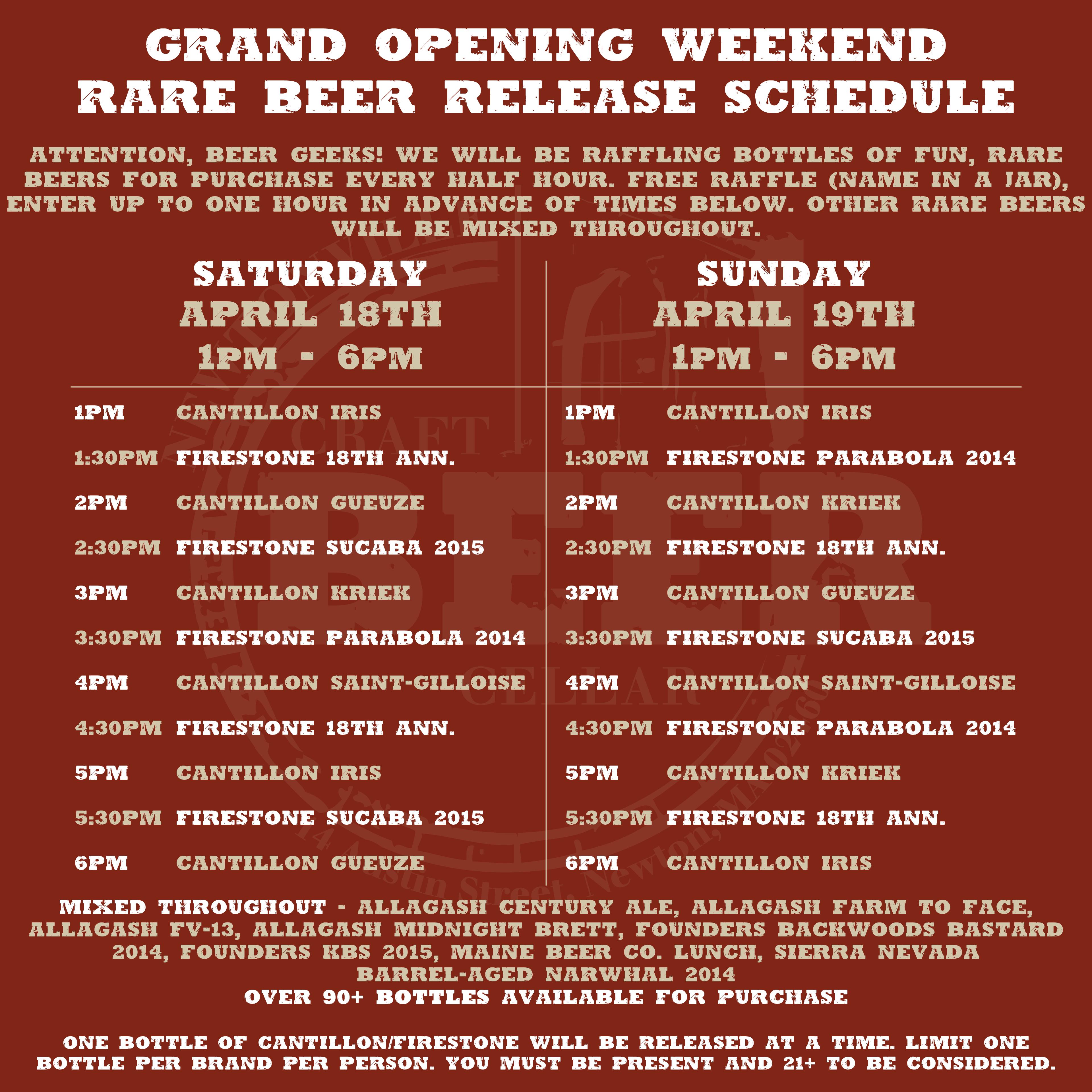 Grand Opening Schedule