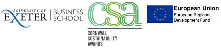 University of Exeter Business School, Cornwall Sustainability Awards & EU Regional Development Fund Logos
