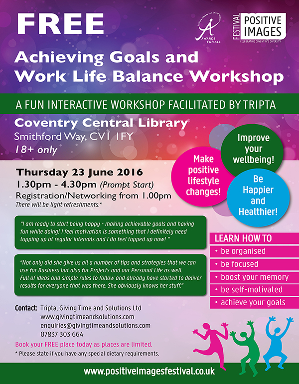 FREE Achieving Goals and Work Life Balance workshop
