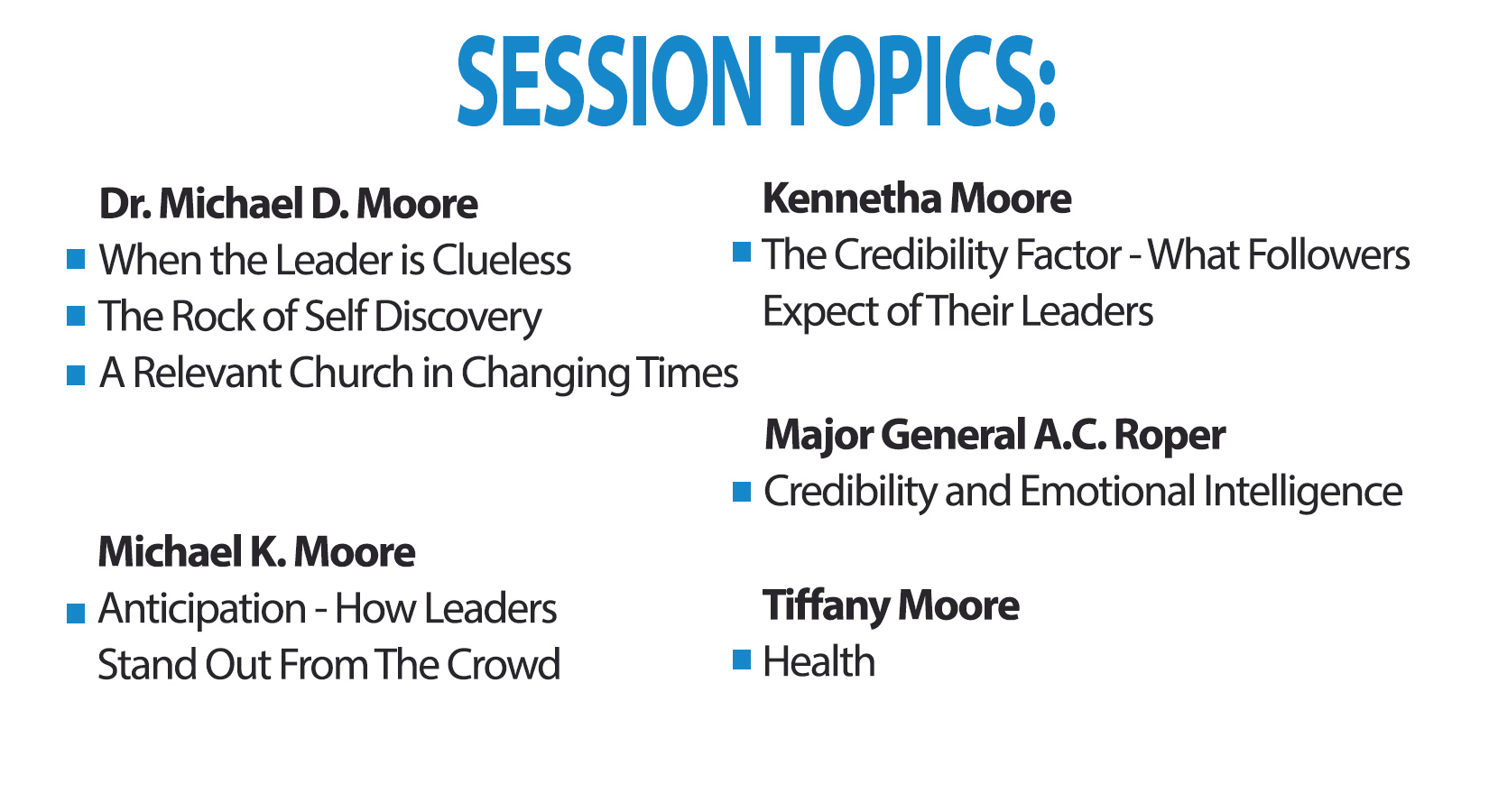 Pastors and Leaders Conference Session Topics
