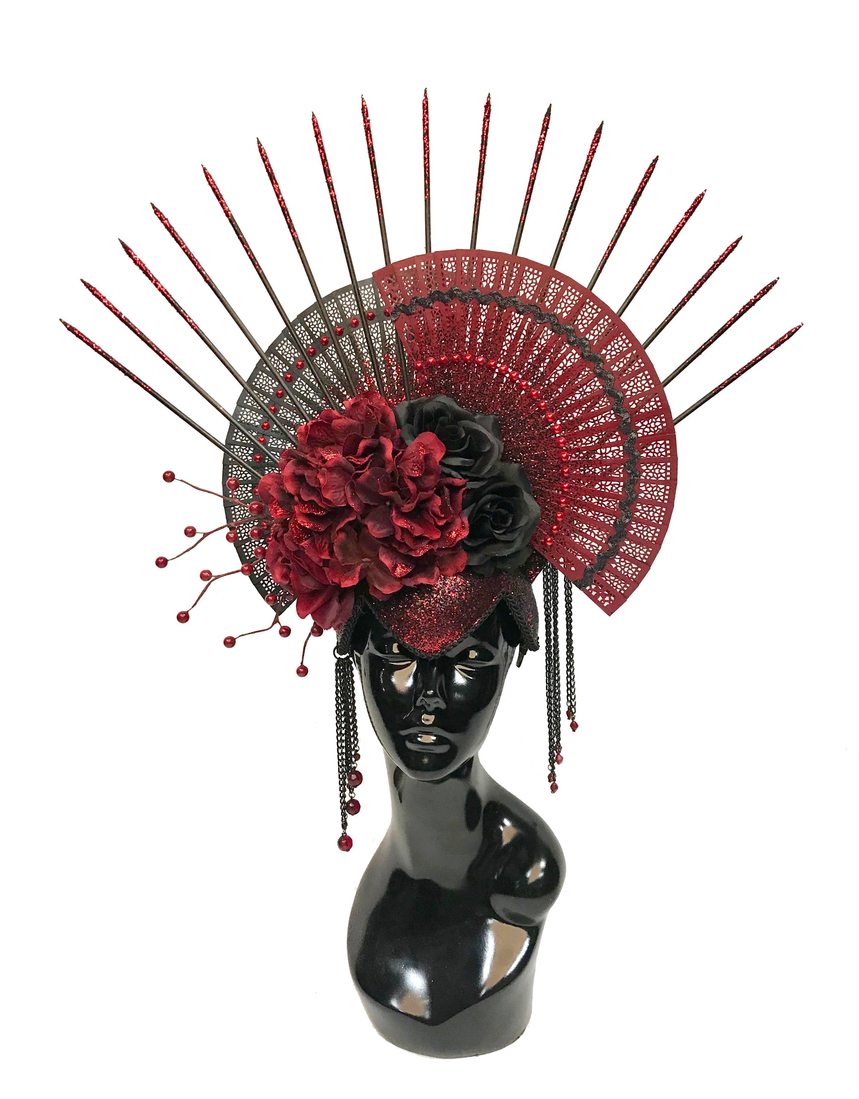 burgundy and black fan and flower headdress
