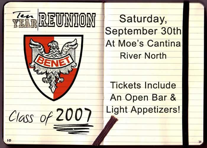 Benet Academy - Ten Year High School Reunion - Tickets include: Open Bar and Light Appetizers
