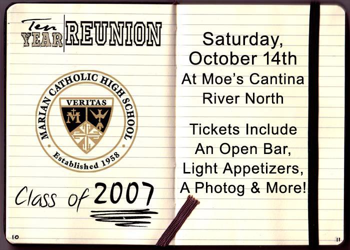 Marian Catholic High School Class of 2007 - Tickets include: An Open Bar, Light Appetizers, a Photographer & More!