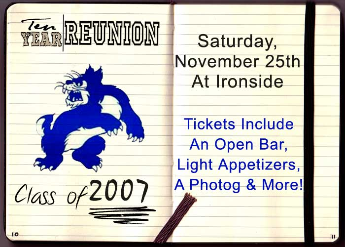 Wheeling High School Ten Year Reunion Party! Tickets include an open bar, light appetizers, a photographer and more!