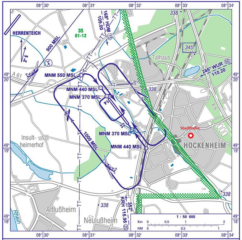 Anflugkarte mit Veranstaltungsort