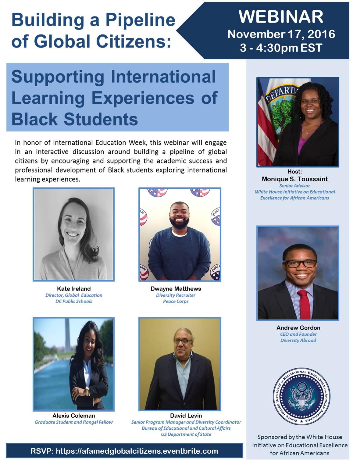 International Education Week Webinar Flyer with Speaker Information