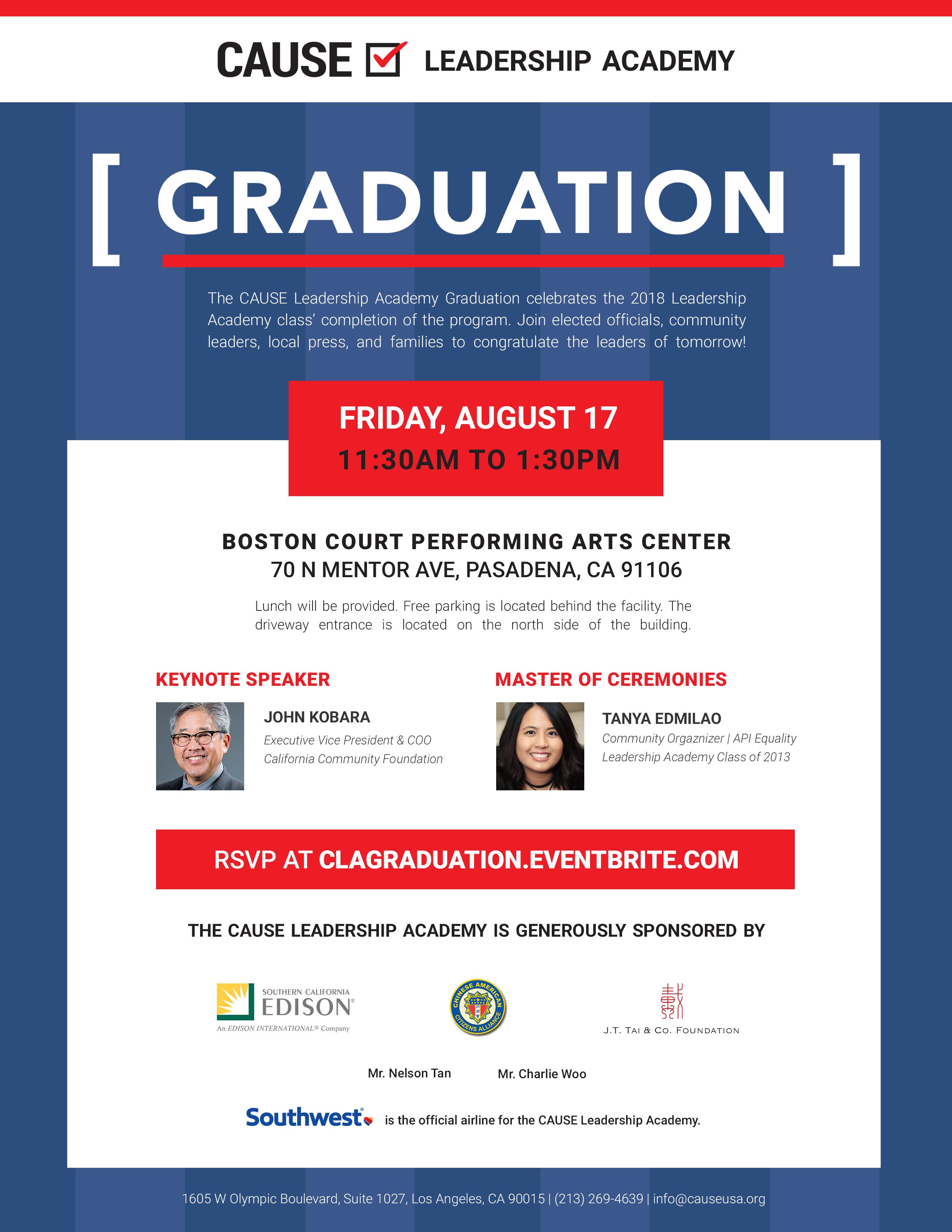 2018 CLA Graduation flyer