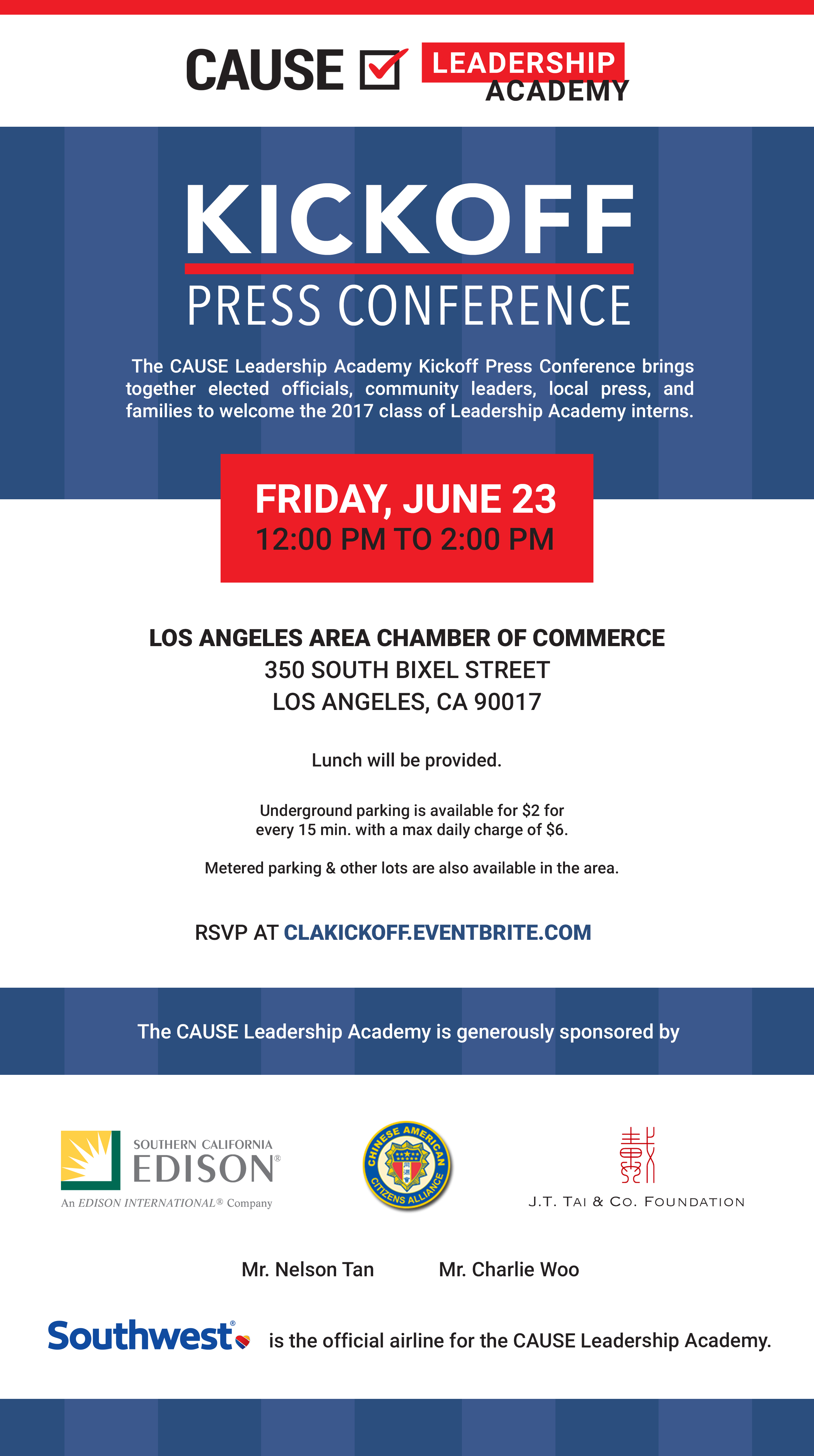 CAUSE Leadership Academy Kickoff Press Conference flyer