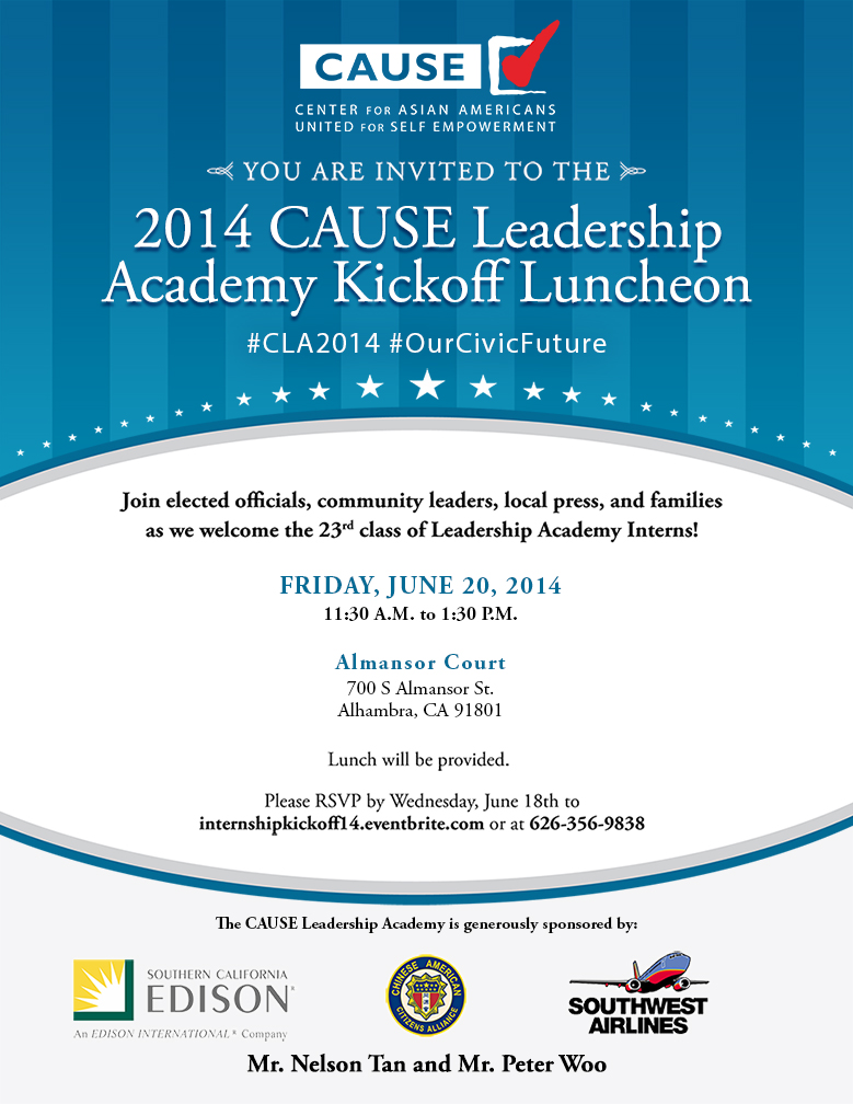 2014 CAUSE Leadership Academy Kickoff Luncheon Flyer