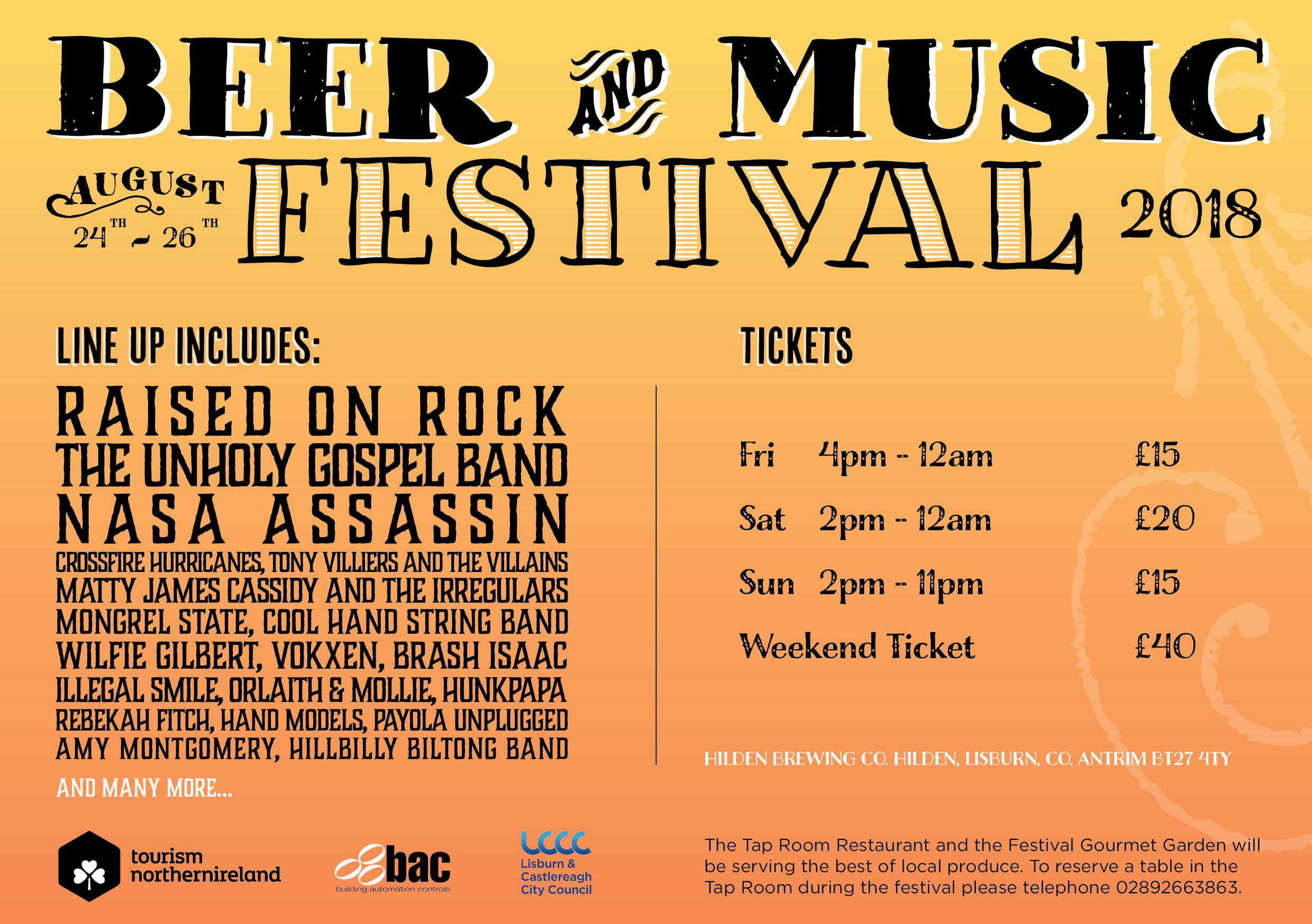 hilden beer and Music Festival lineup