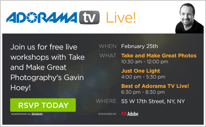 Event Logo for Adorama TV Live presents Gavin Hoey